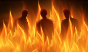11551751 - abstract lighted silhouettes of three persons in hell